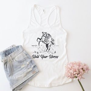 Tops - Hold Your Horses Tank Top   Made to order 🧶